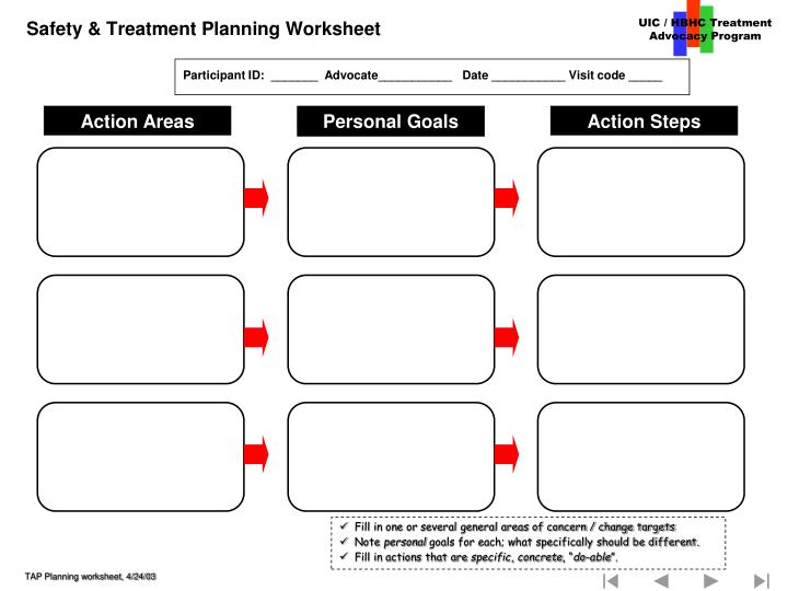 Safety & Treatment Planning Worksheet