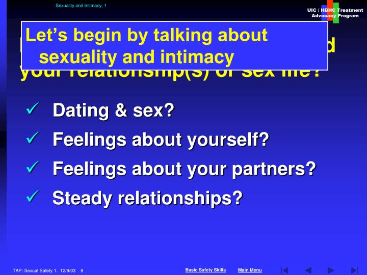 Sexuality and Intimacy, 1
