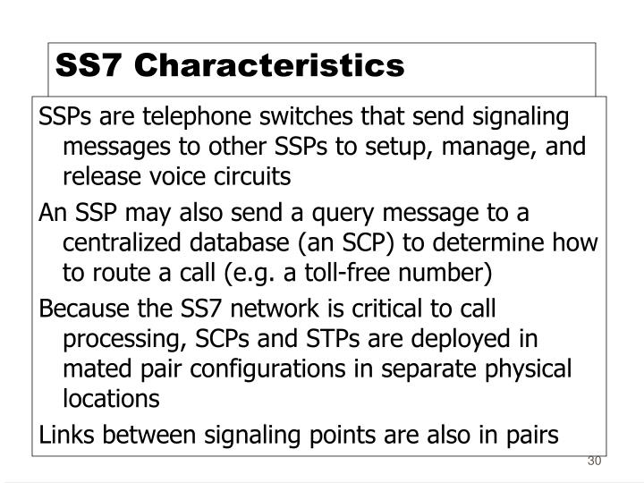 SS7 Characteristics