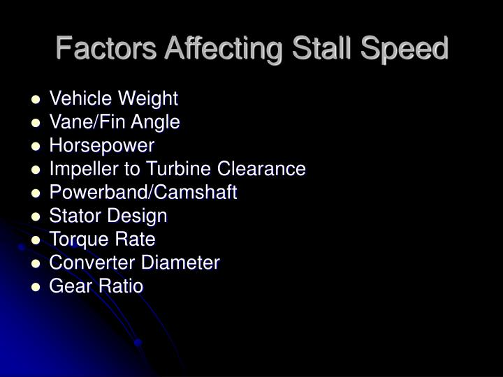 Factors Affecting Stall Speed