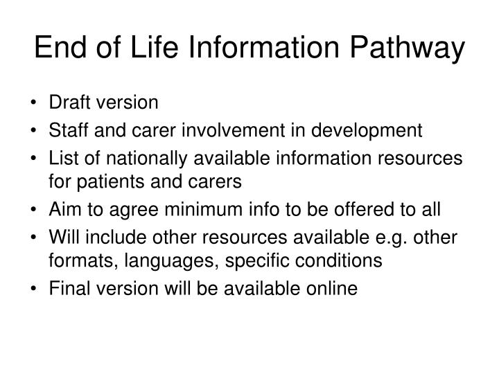 End of Life Information Pathway