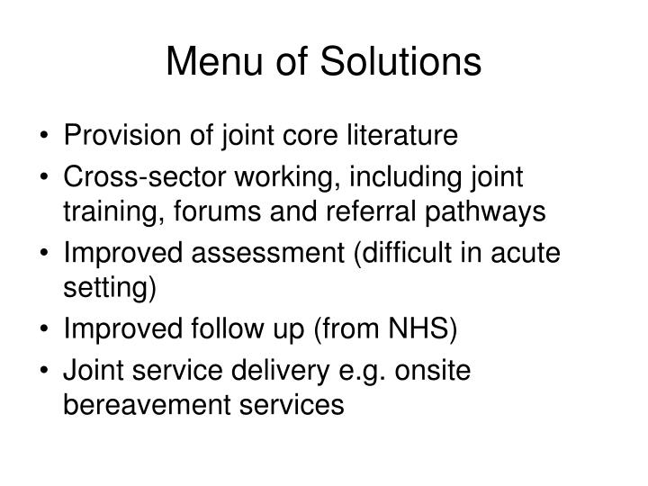 Menu of Solutions