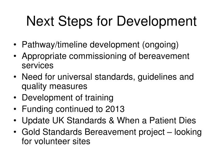 Next Steps for Development