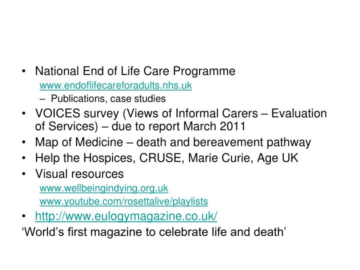National End of Life Care Programme