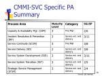 cmmi svc specific pa summary