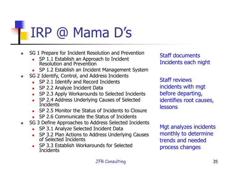 IRP @ Mama D's
