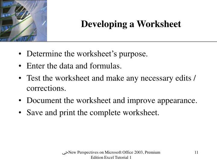 Developing a Worksheet