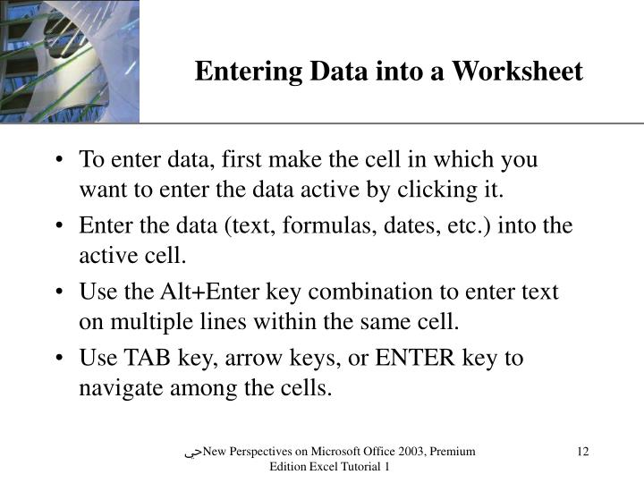 Entering Data into a Worksheet