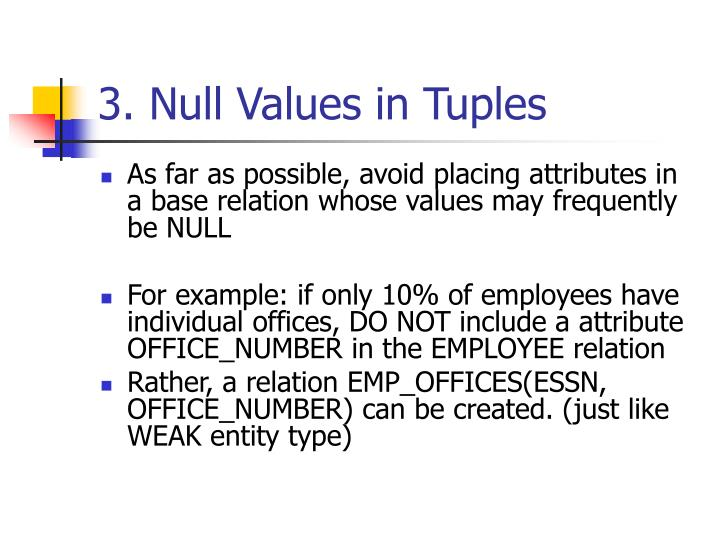 3. Null Values in Tuples