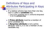 definitions of keys and attributes participating in keys1