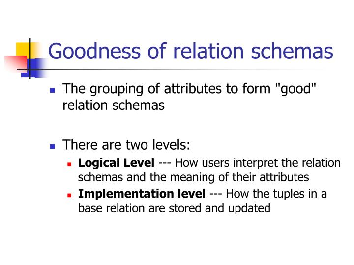 Goodness of relation schemas