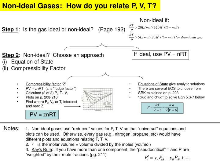 Non-Ideal Gases:  How do you relate P, V, T?