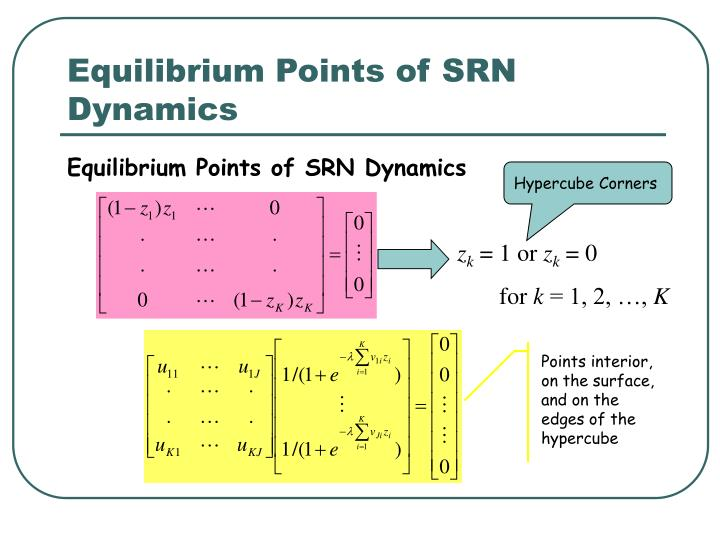 Equilibrium Points of SRN Dynamics
