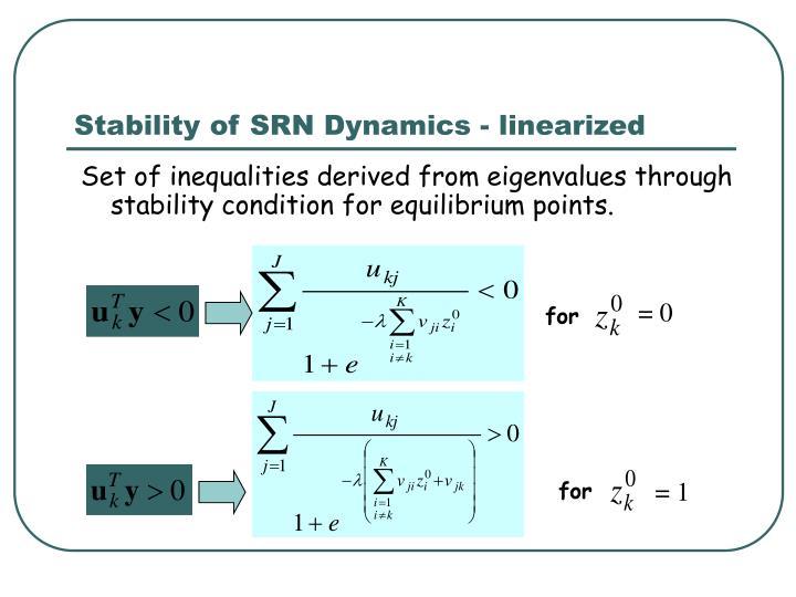 Stability of SRN Dynamics - linearized