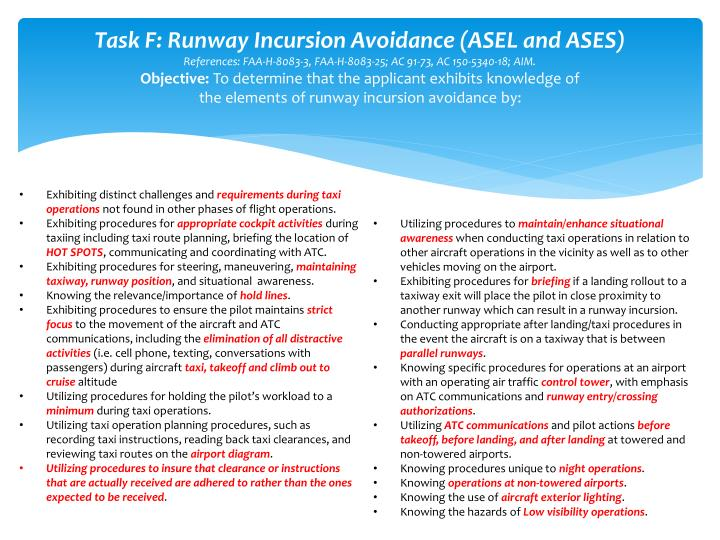 Task F: Runway Incursion Avoidance (ASEL and ASES)