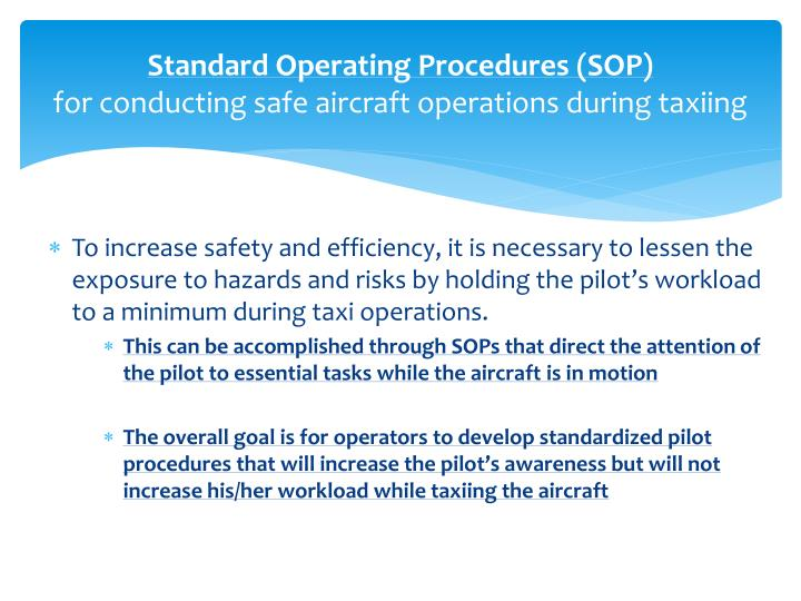 Standard operating procedures sop for conducting safe aircraft operations during taxiing1