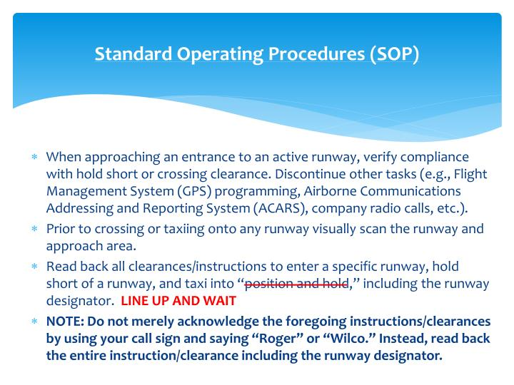 Standard Operating Procedures (SOP)