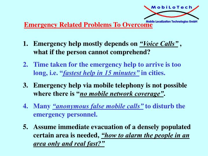 Emergency Related Problems To Overcome