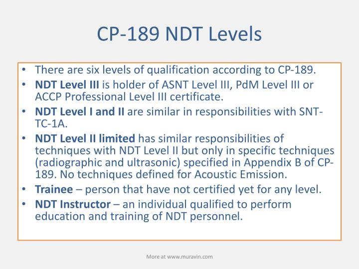 CP-189 NDT Levels