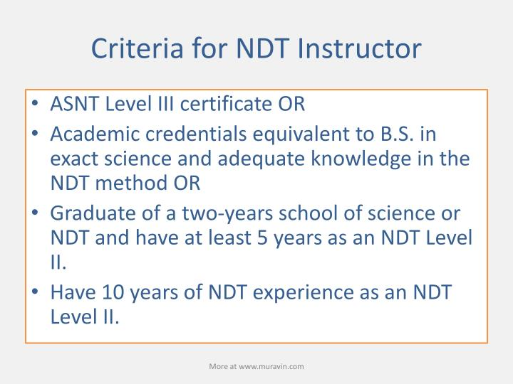 Criteria for NDT Instructor