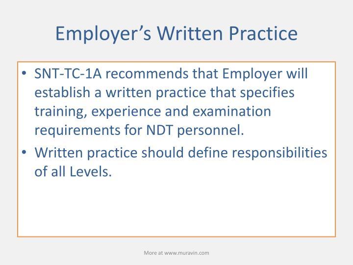 Employer's Written Practice