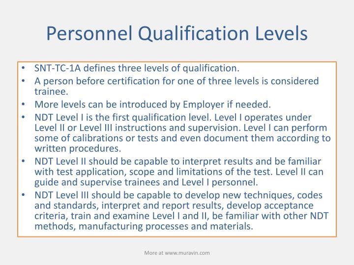 Personnel Qualification Levels