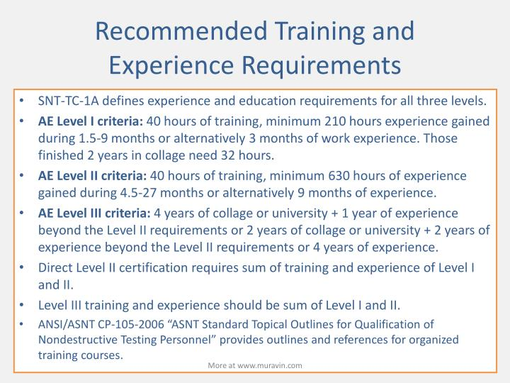 Recommended Training and Experience Requirements
