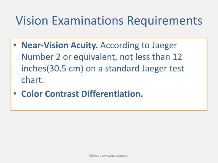 Vision Examinations Requirements