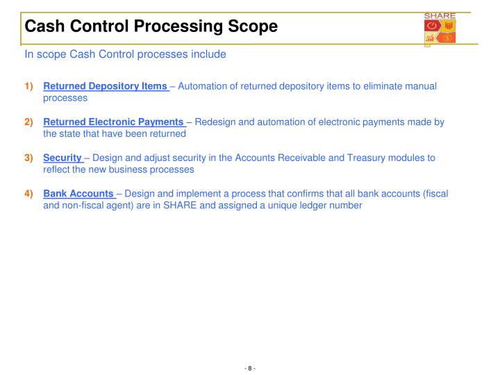 Cash Control Processing Scope