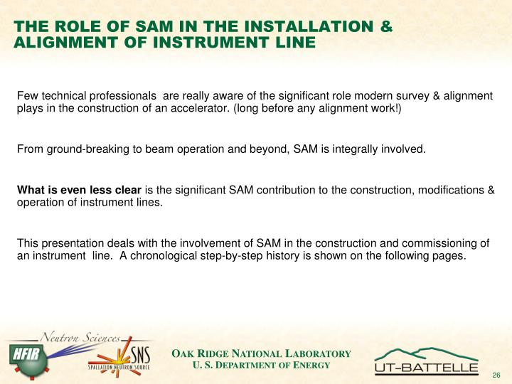 THE ROLE OF SAM IN THE INSTALLATION & ALIGNMENT OF INSTRUMENT LINE
