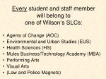 every student and staff member will belong to one of wilson s slcs