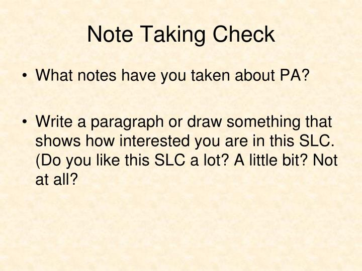 Note Taking Check