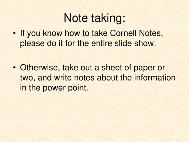 Note taking: