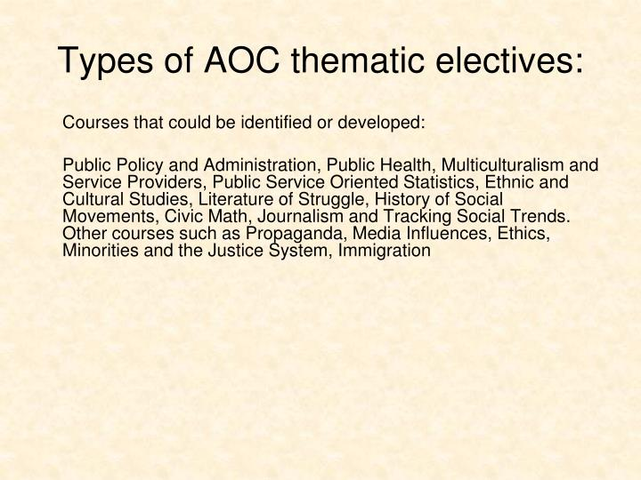 Types of AOC thematic electives: