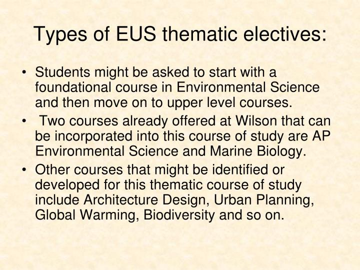 Types of EUS thematic electives: