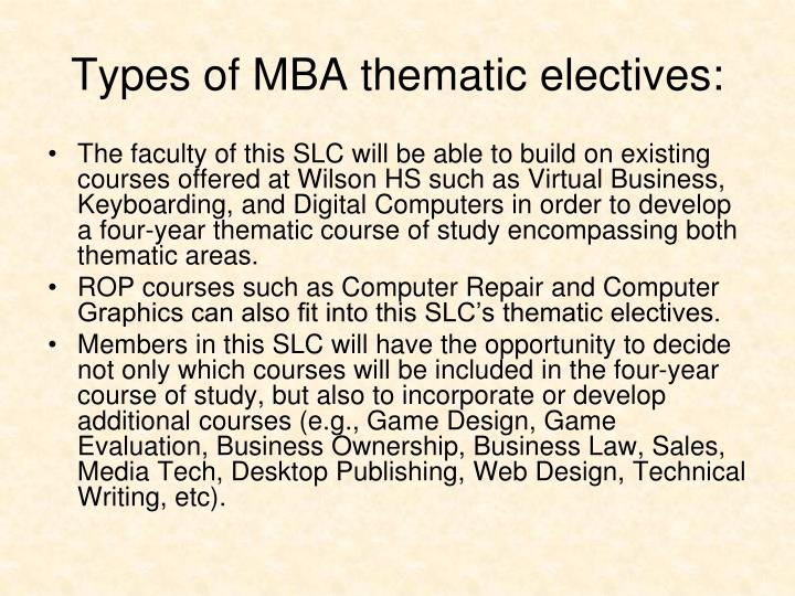 Types of MBA thematic electives: