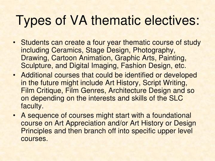 Types of VA thematic electives: