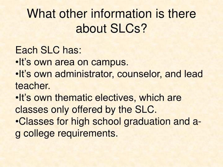What other information is there about SLCs?
