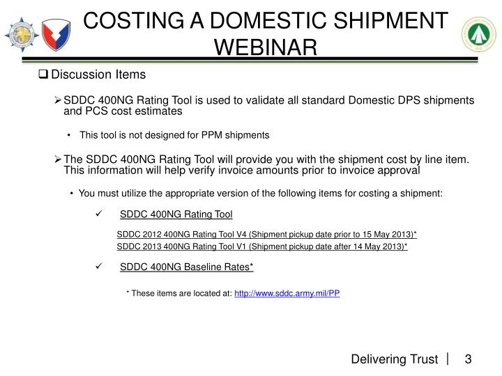 Costing a domestic shipment webinar2