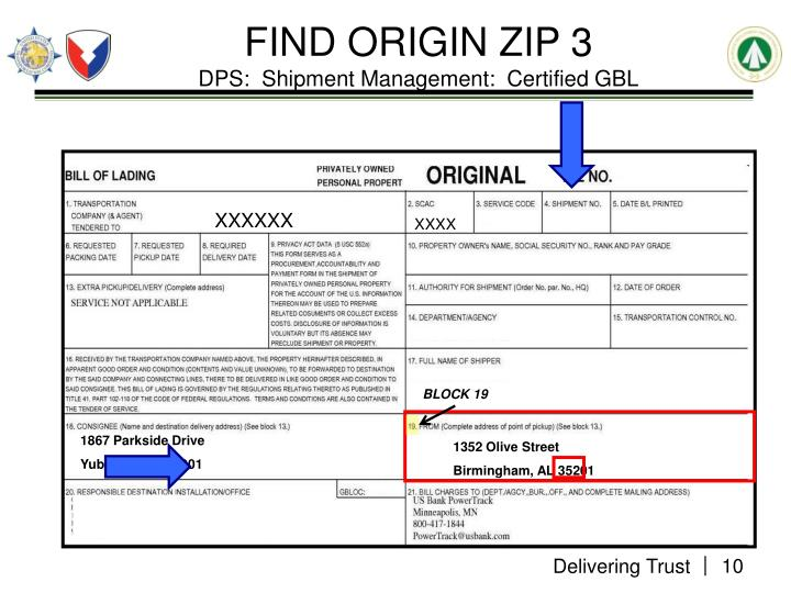FIND ORIGIN ZIP 3
