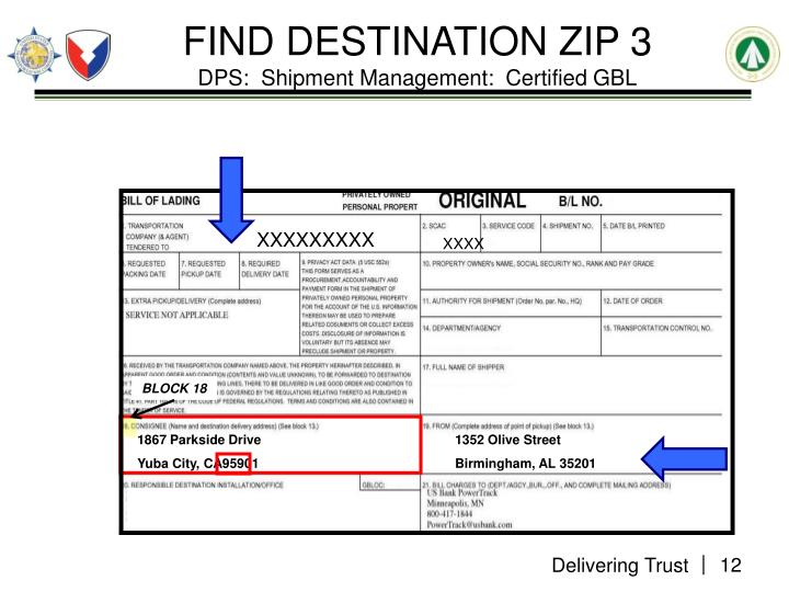 FIND DESTINATION ZIP 3
