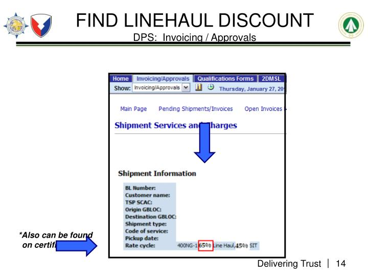 FIND LINEHAUL DISCOUNT
