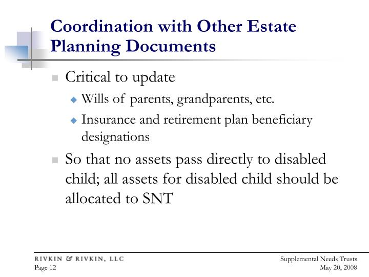 Coordination with Other Estate Planning Documents