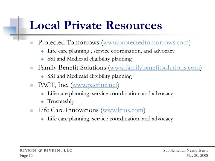 Local Private Resources