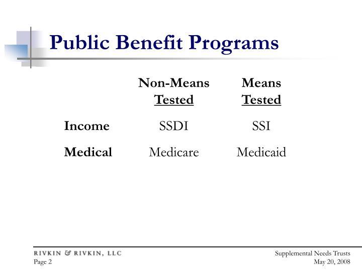 Public Benefit Programs