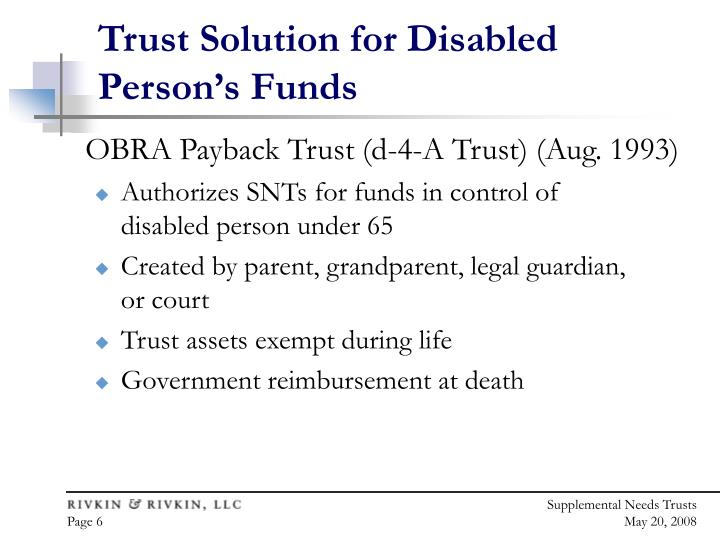 Trust Solution for Disabled Person's Funds
