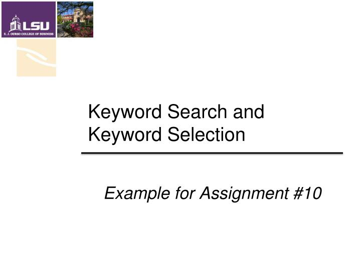 Keyword search and keyword selection