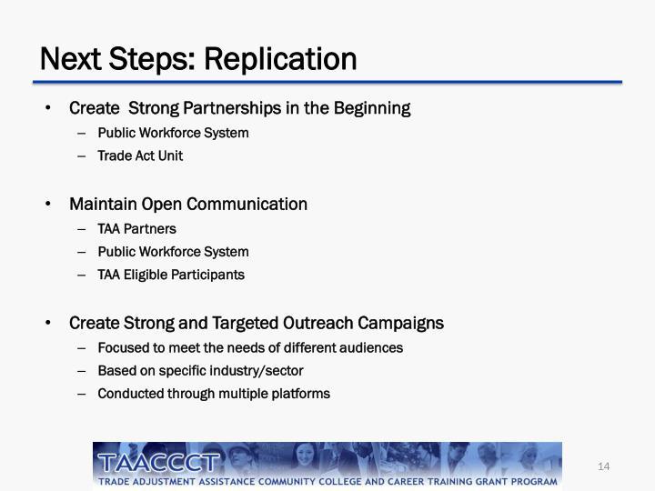 Next Steps: Replication