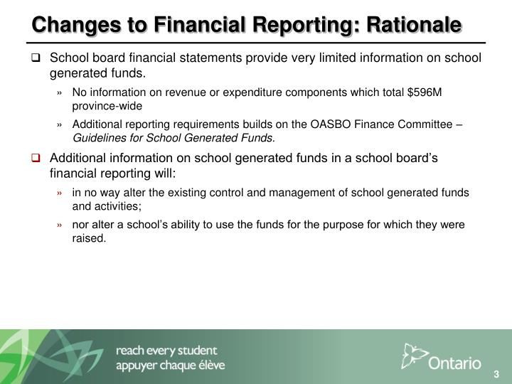 Changes to financial reporting rationale