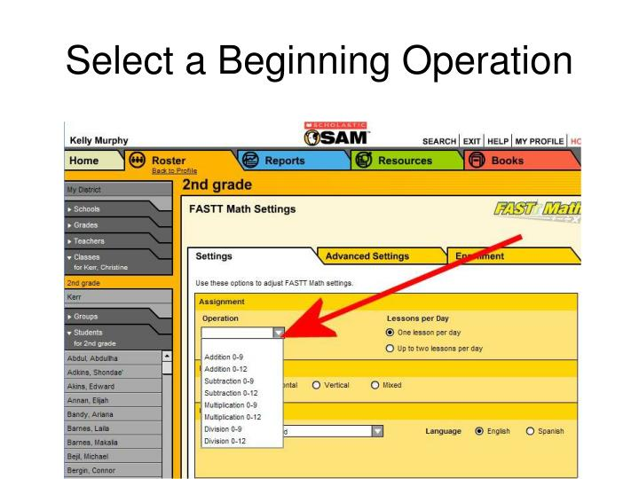 Select a Beginning Operation